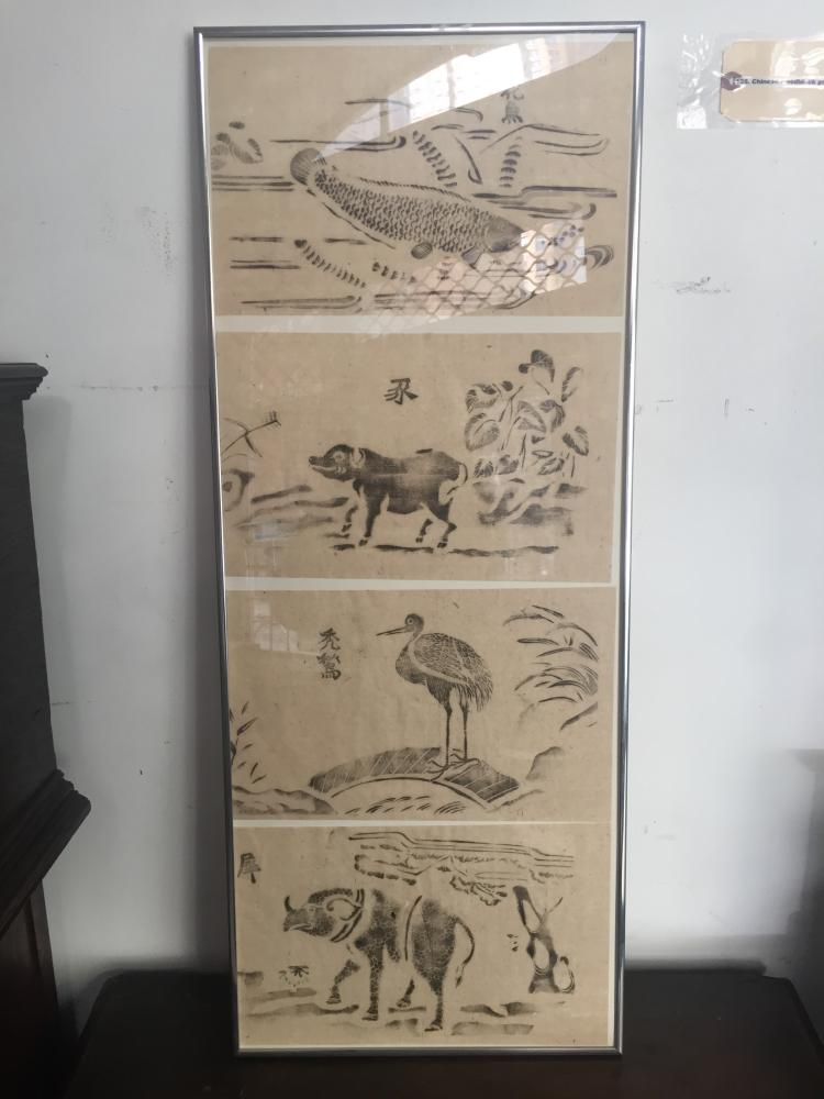 Chinese woodblock prints, framed