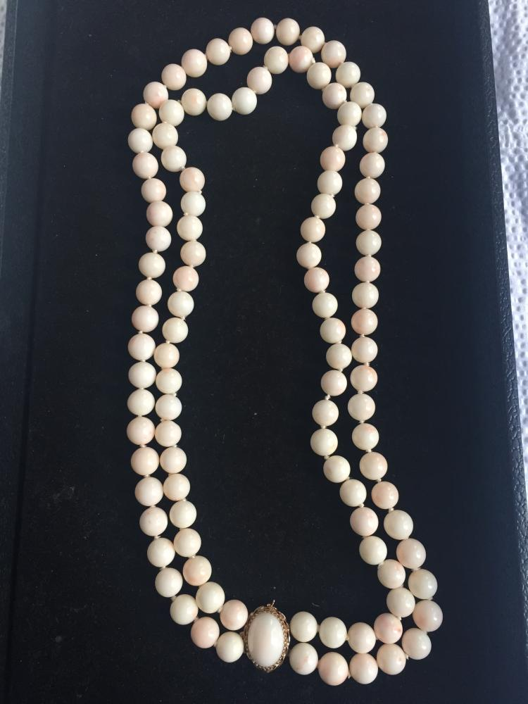 Box lot-Double strand of angel coral w/ gold clasp, c.1965