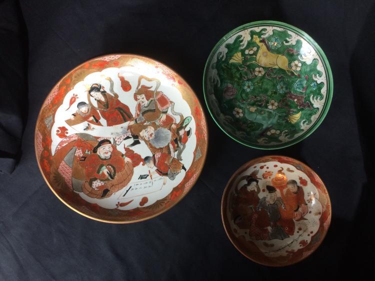 Box lot-Japanese Kutani plates