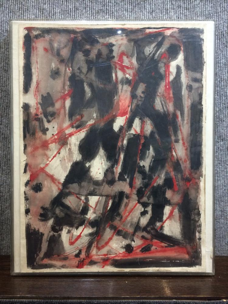 Oil on paper abstraction, c,1967,McKinley Estate