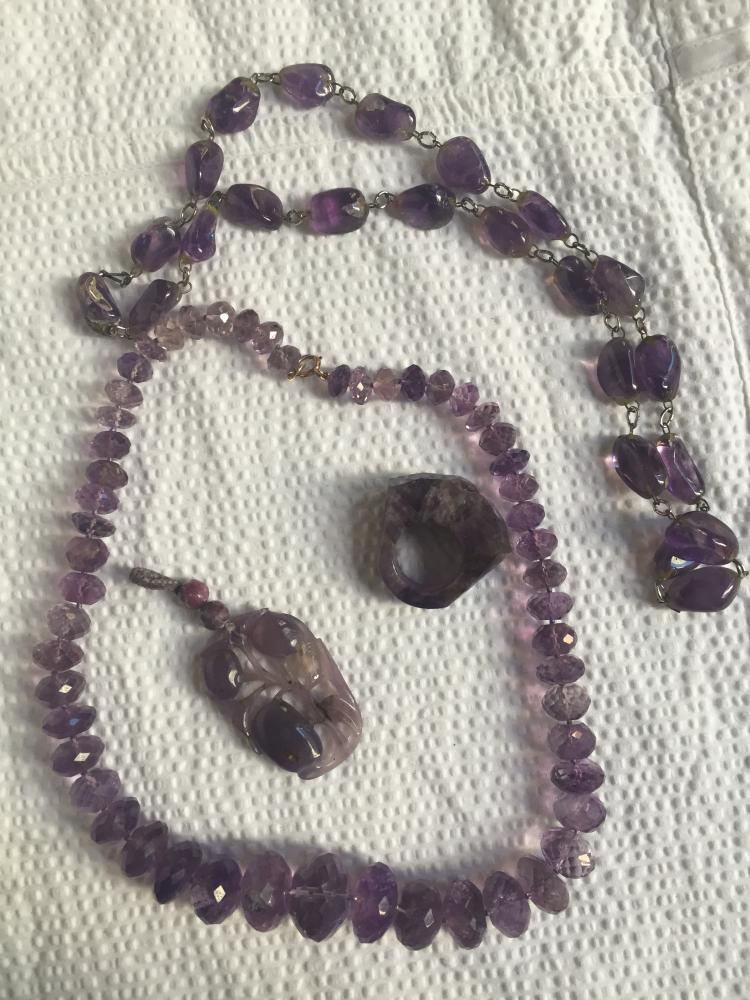 Box lot-Four pieces of amethyst jewelry