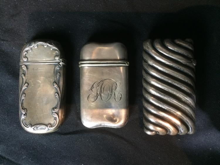 Box lot-Silver match safes, 2.5 t. oz