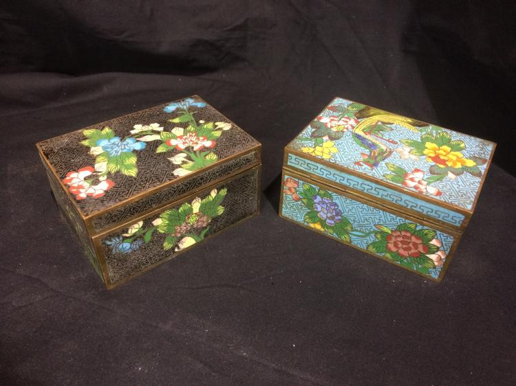 Box lot-Two Chinese cloisonne boxes