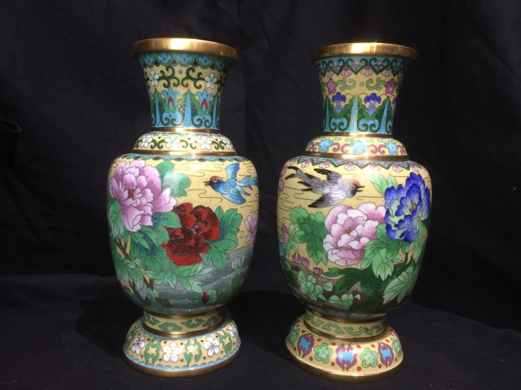Pair of Chinese cloisonné vases, c.1965