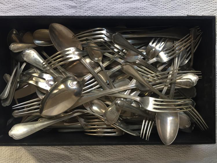 Box lot-Austrian partial 800 silver flatware set, 107 t. oz