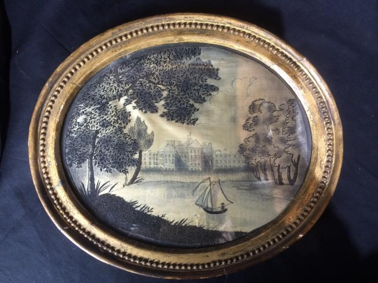 Case lot-Painted silk embroidery of ship, c.1850