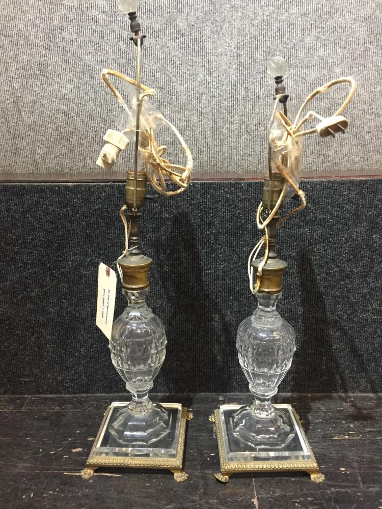 Pair of Neoclassical glass lamps, c.1950