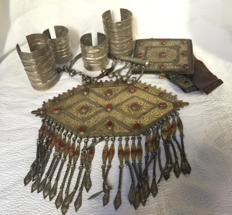 Box lot-Tribal jewelry w/leather belt-Ambassador Estate