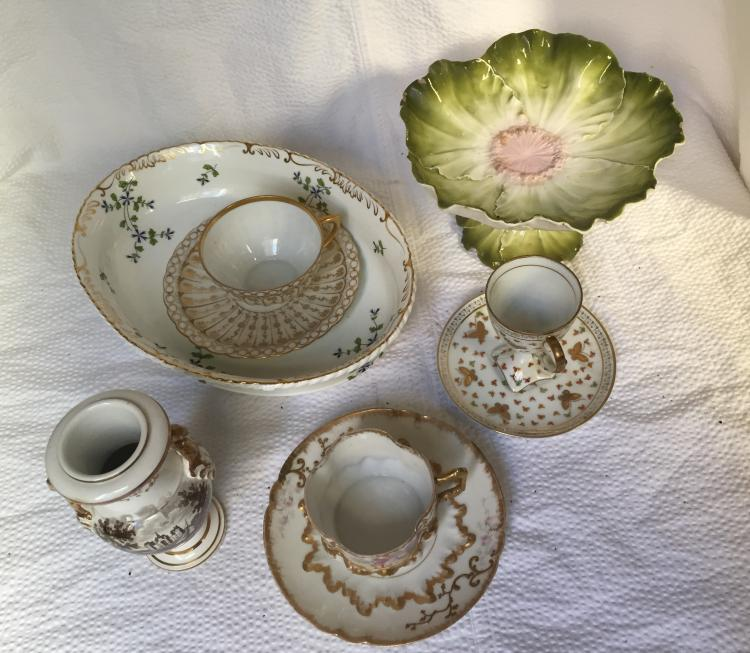 Box lot-European porcelain in two trays