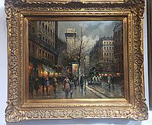 Painting of a Paris street in the rain