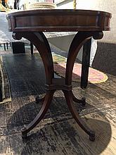 Mahogany leather top circular table