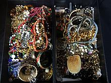 Box lot-two trays of costume jewelry