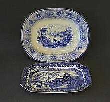 Early Swansea Blue & White Platter Etc. Figures