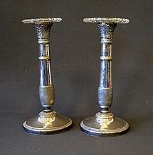 Pr French? Silverplated Candlesticks. With near