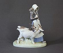 Royal Copenhagen Woman With Goats Figure.  H23cm