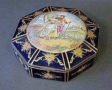 French Octagonal Jewel Casket. Painted roundel of