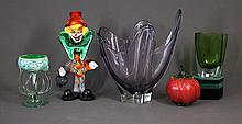 5 Various Art Glass Items. Incl. Seda Sweden vase;