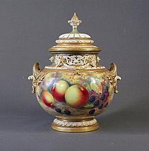 Royal Worcester Ayrton Pot Pourri Vase & Cover.