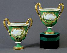 Pair Early Royal Worcester Vases. Hand painted