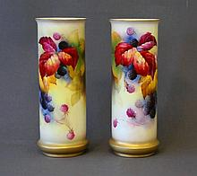 Pr Royal Worcester Cylindrical Vases. Painted