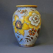 Gouda Dena Vase. Yellow & brown floral decoration.