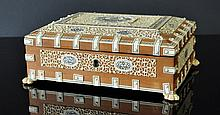 Indian Ivory Decorated Box. Some ivory losses. As