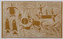BANDUK, Marika (b.1954) (2) 'Miyapunuwuy Yarruyan,' 1985. Linocut (2) 3/20 & 11/20