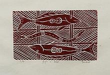 BANDUK, Marika (b.1954) 'Guya & Bapi' Linocut 11/14