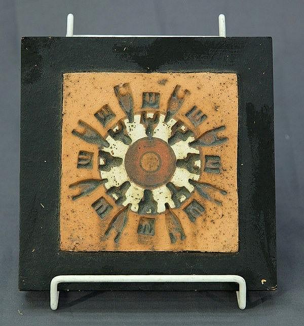 TRAVIS, Peter (b.1929) Tile with Stamped & Slip Glaze Decoration.