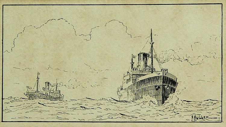 Attrib FULLER, Florence (c.1867-1946) Steamships.