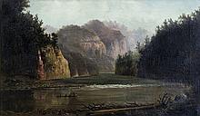 ATTWOOD, Thomas Reginald (New Zealand 1865-1926) New Zealand River Gorge with Maori Canoe. Signed lower right.