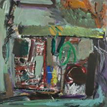 LAMBERT Ron (1923-1995), 'In, Out & Behind,' 1983-86., Oil on Board, 62x61.5cm