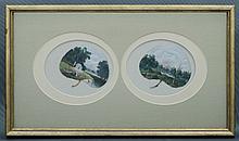 EUSTACE, Alfred W (1820-1907) - Colonial Bush Landscapes. On leaves. Two framed together.