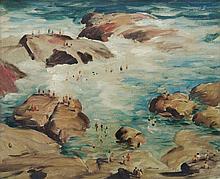 KEMBLE, Herbert (1894-1986) - 'Bathing Between Rocks,' 1939.