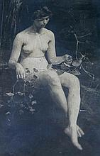 ASHTON, Julian Rossi (1851-1942) - Nude Study Photograph.  Inscribed verso, 'Dear Beryl, a Christmas Greeting in the shape of the Naked Truth,' 1938.