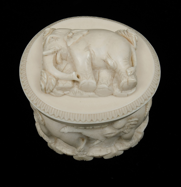 Indian ivory box high relief carving of elephant to lid co