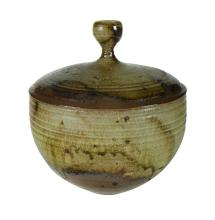 RUSHFORTH Peter (1920-2015), Buff Stoneware Lidded Crock. Impressed studio mark to base. H31cm Dia 28cm