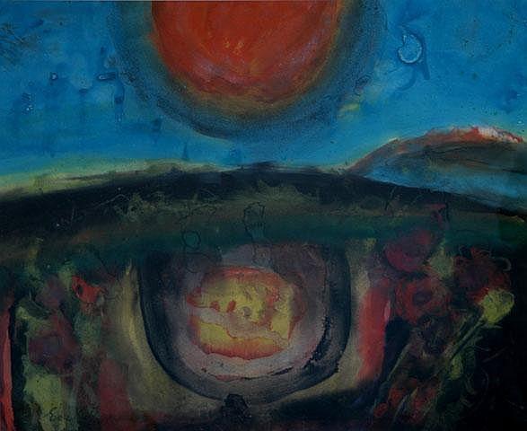 KUBBOS, Eva (b.1928) Sun & Earth Mixed Media on