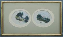 EUSTACE, Alfred W (1820-1907) Colonial Bush Landscapes. On leaves. Tw
