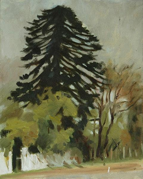 INSON, Graeme (1923-2000) Fence Line and Trees Oil