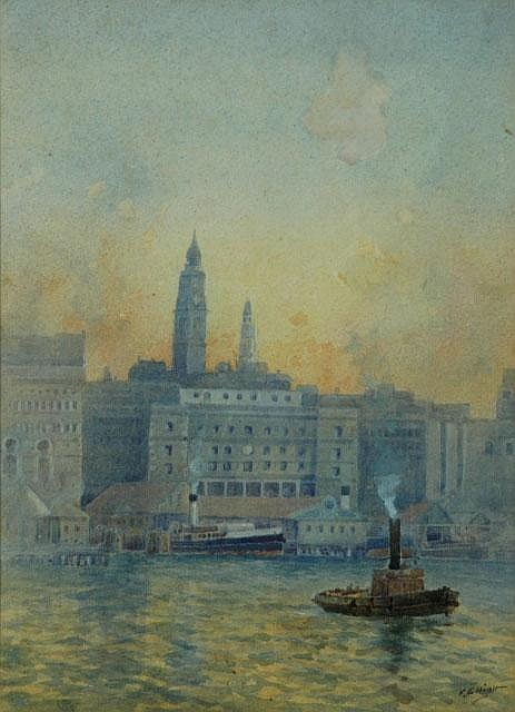ELLIOTT, Frederick (1864-1949) Tug, Ferry &