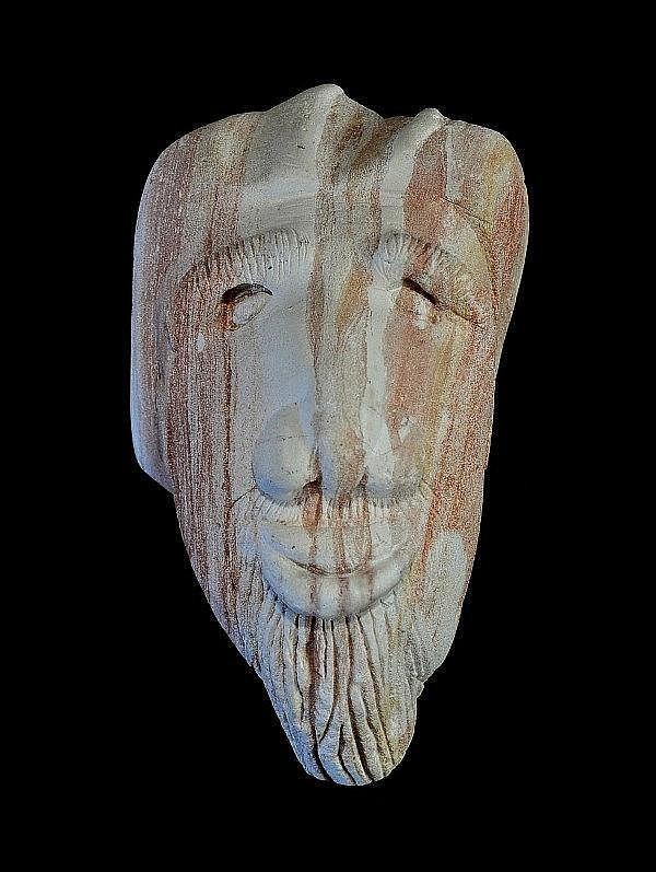 Indigenous Carved Sandstone Head (c.1950). Cream &
