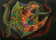 DA SILVA Francisco (Chico) (Brazilian 1910-1985), Peixes, 1984., Oil on Canvas, 50.5x69.5cm