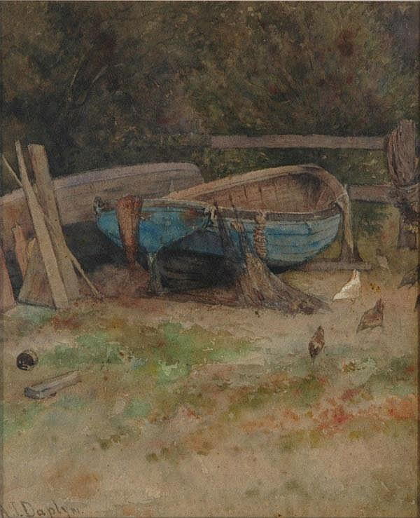 DAPLYN, Alfred James (1844-1926) Rowboat on Shore,