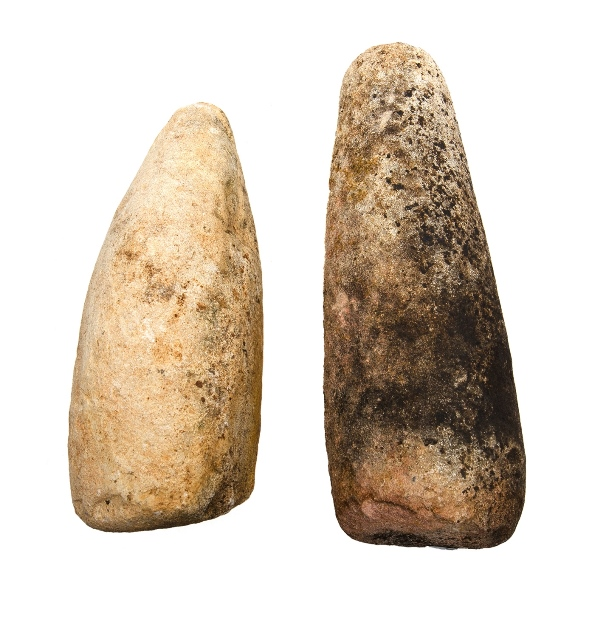2 Var Ancient Aboriginal Cylcons.  2 ritual pces fashioned from fine sedimentary stone. Collected over 3 generations of a farming family on a Walgett property.