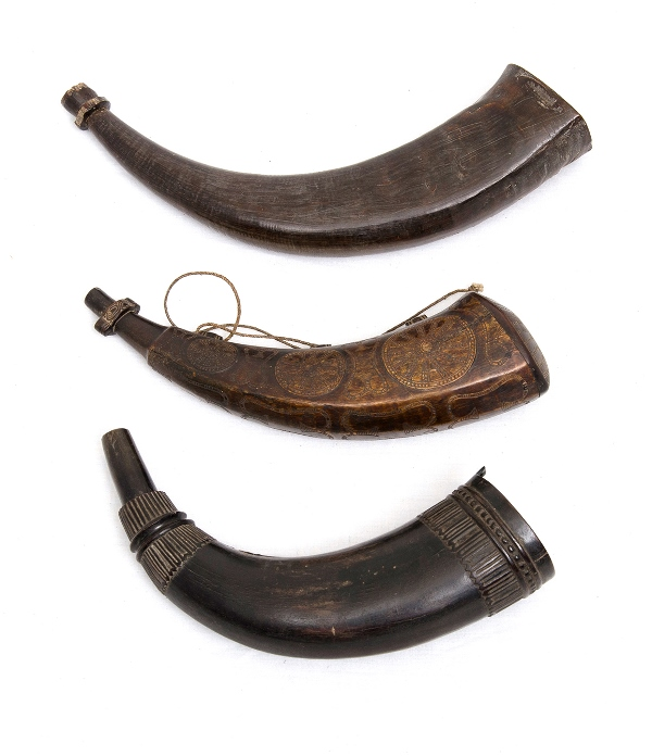 3 Var Timorese Powder Horns.  Formed from buffalo horn, 2 deeply carved & decorated.