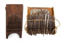 2 Var African Thumb Harps.  Wide range harp with neck rope & bottle cap rattle; & hollow bodied harp.