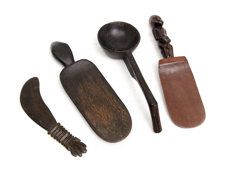 4 Var Indonesian Food Utensils.  Incl. 2 Lombok food scoops; & Sulawesi knife & scoop. All older pieces with use patination.