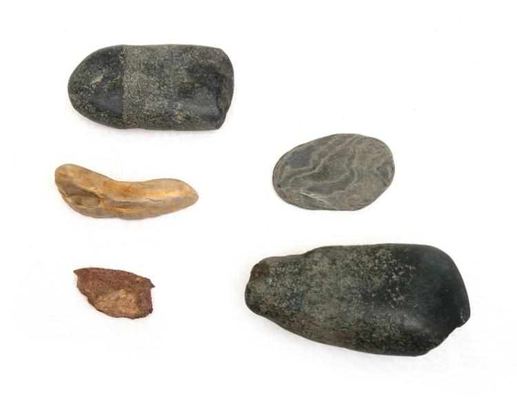 5 Var Aboriginal Stone Tools. Incl. small blade & granite cutter/scraper, & pounder etc. Collected Walgett c.1960.