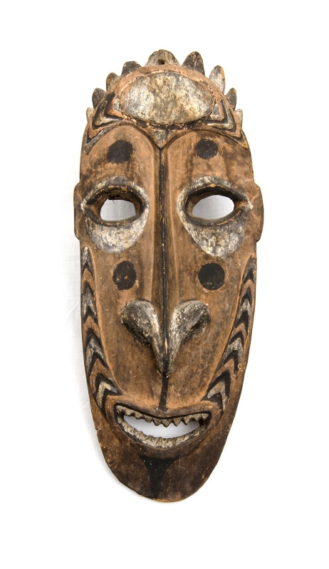 Papua New Guinea Sepik Gable Mask.  Carved face. Ochre decoration. c1900. Provenance: ex Kellner Gallery, Sydney, thence held in a private collection.